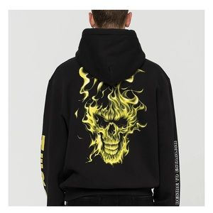 Heron Preston Flaming Skull Hoodie Sweatshirt